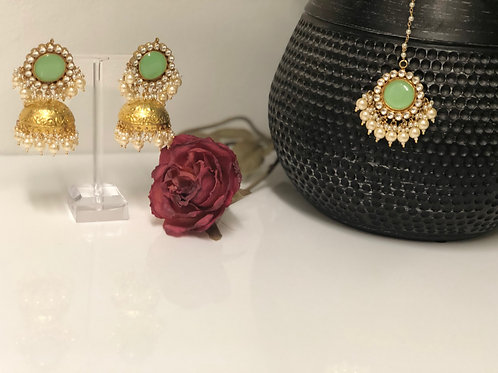 ROMIKA Sea Green Gold Plated PACHI KUNDAN Earring & Maang Tikka Set