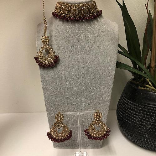 MISHKA Designer Floral Maroon Choker Set