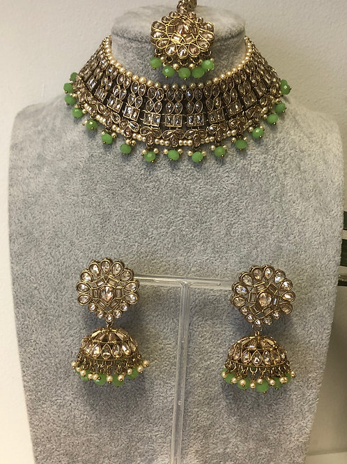 AAINA Pista Green Choker Necklace Set