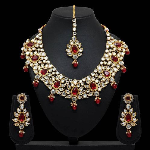 Maroon Color Imitation Pearl & Kundan Necklace With Earrings & Maang Tikka