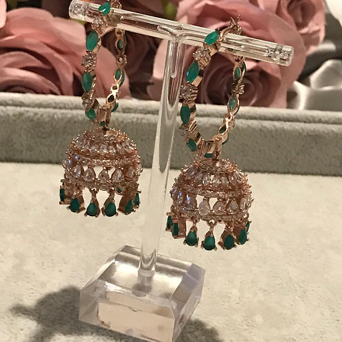 Emerald Green, Rose Gold AD Cubic Zirconia Jhumki's