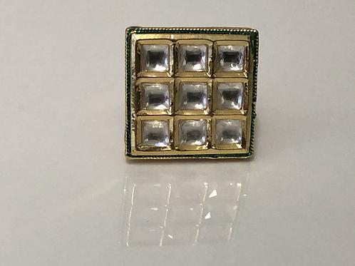 CLEAR Square Kundan Ring (Adjustable)