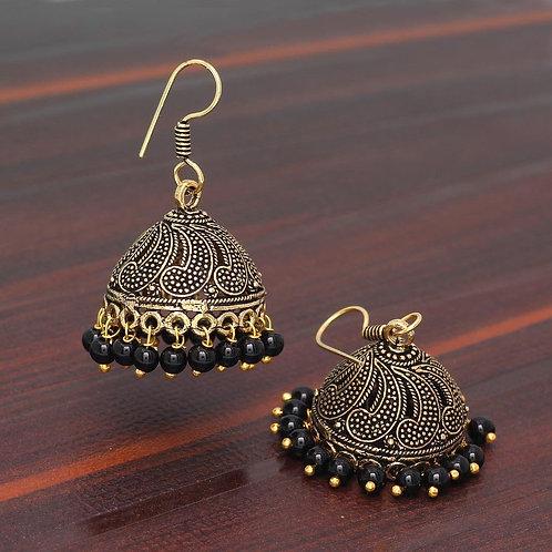 Rajasthani Traditional Wedding Collection Gold Oxidised Black Color Beaded Jhumk