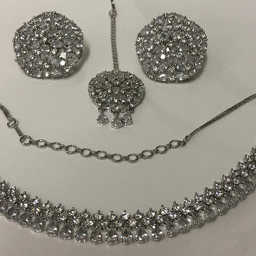 TANISHQ Silver CUBIC ZIRCONIA Necklace Set