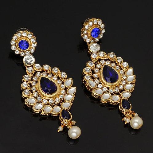 Blue Color Beautiful Kundan Earrings For Girls & Women