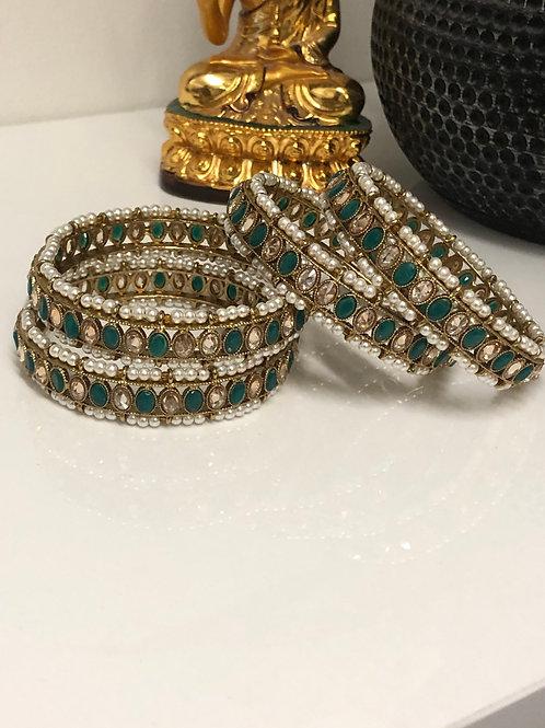 JIYA Emerald Green Polki Kangans- Set of 2 KANGANS ONLY