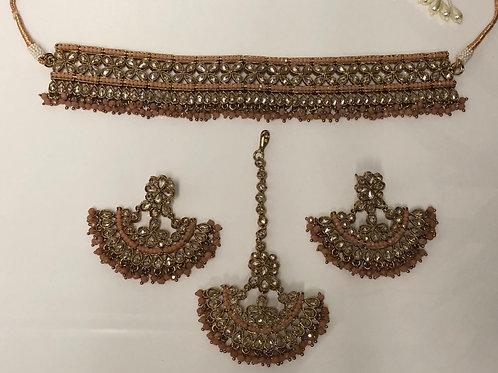 KRITIKA Blush Pink Choker Necklace Set