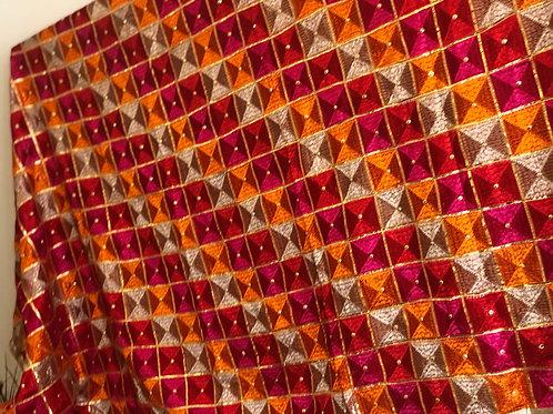 Pink/Orange Phulkari Dupatta