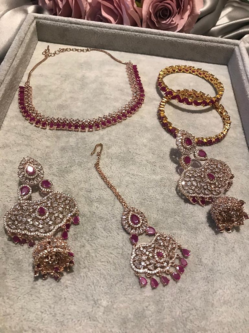 TANISHQ Ruby Cubic Zirconia Earring & Necklace Set