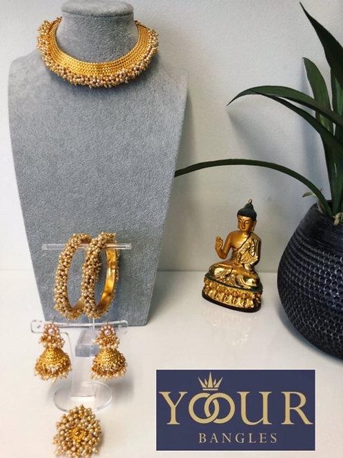 KHUSHI Golden Polki Choker Necklace Set