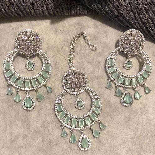 MAHIMA Sea Green Earring & Tikka Set