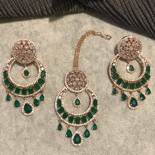 MAHIMA Emerald Green Earring & Tikka Set
