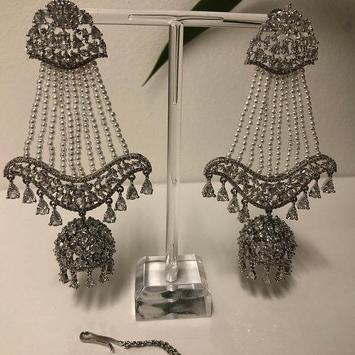 ZIA Polki Clear Silver JHUMKI Earring Tikka Set