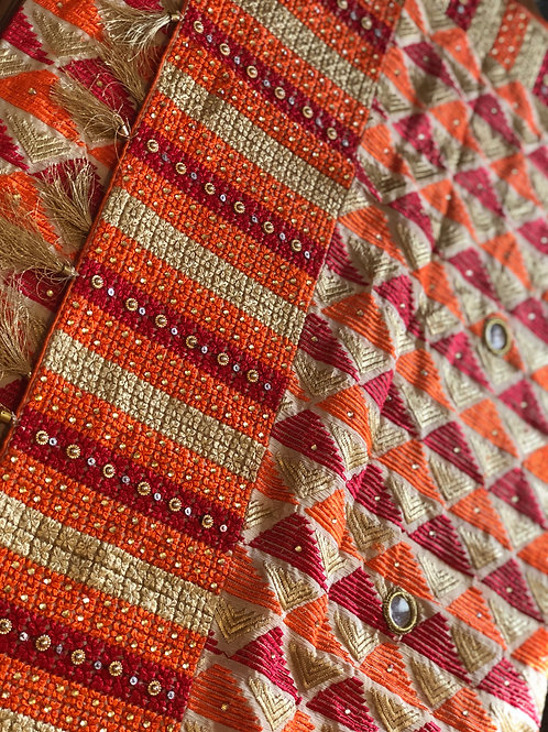 Orange Phulkari Dupatta