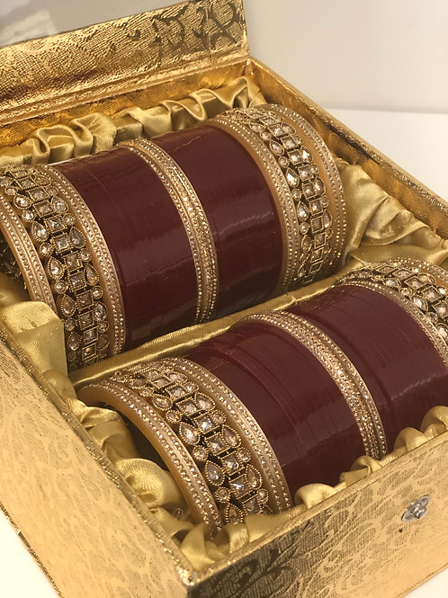 "ANTIQUE GOLD ""HEER"" BRIDAL CHOORA BANGLE SET - Maroon"