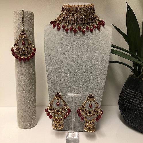 KIARA Maroon Double Choker Necklace Set