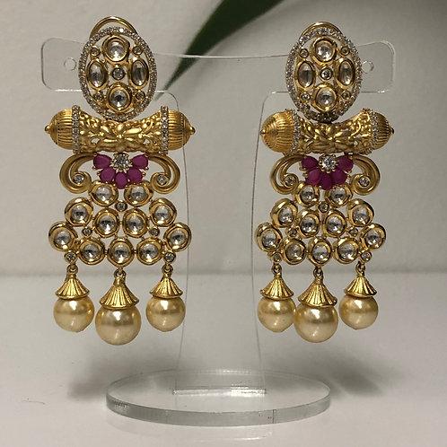MEHAK Golden Kundan Earrings (with Meenakari) - Ruby