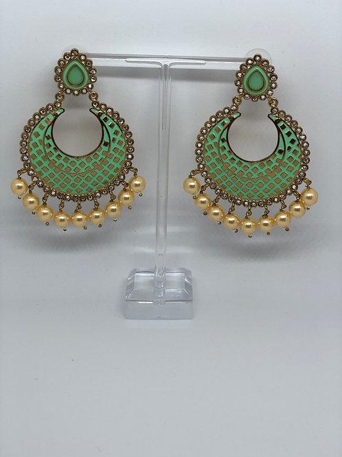 PARI Mint Earrings (Hand Painted)