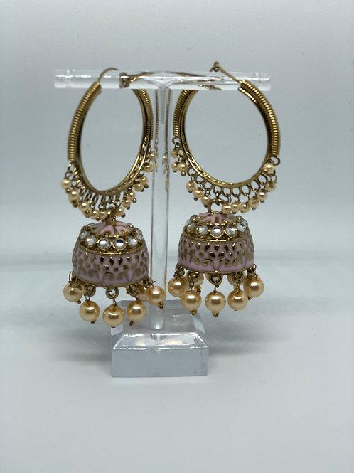 Brown Jhumki Earrings (Hand Painted)