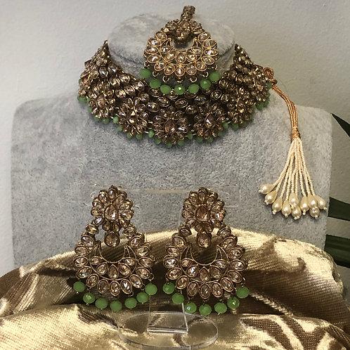 MISHKA Designer Floral Pista Green Choker Set