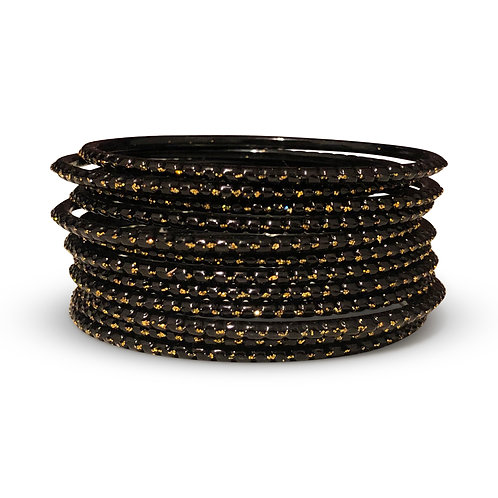 36 Midnight Black Dotted Bangles
