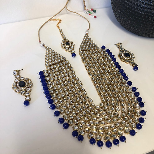 Royal Blue Polki Necklace Set