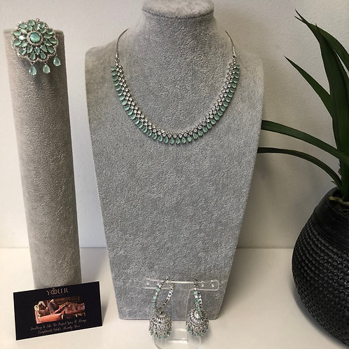 TANISHQ Sea Green CUBIC ZIRCONIA Necklace Set