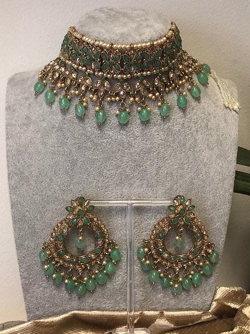 PALAK Pista Green Choker Necklace Set
