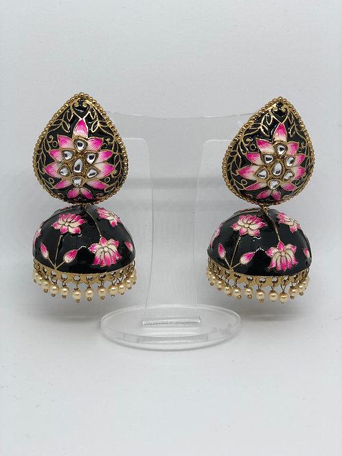 ALISSA Black MEENAKARI (Hand Painted) Earrings