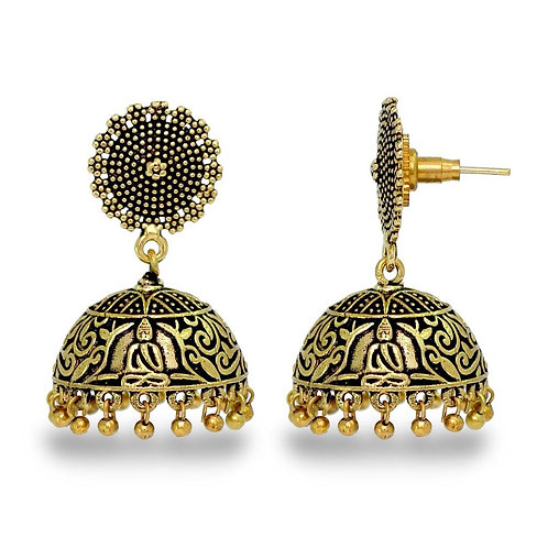 Wedding Collection Traditional Oxidised German Gold Plated Handmade Jhumka Jhumk