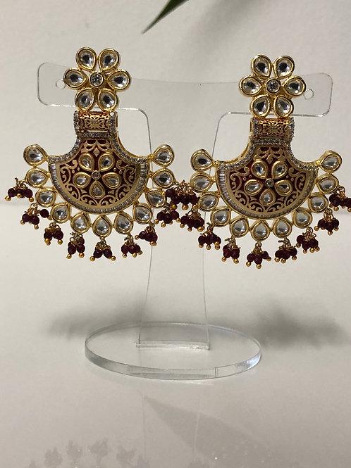 DEEPIKA Golden Meenakari Kundan Earrings