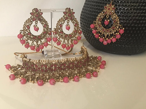 KIARA Pink Choker Necklace Set