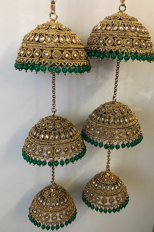 EMERALD GREEN, ANTIQUE GOLD POLKI KALIRE