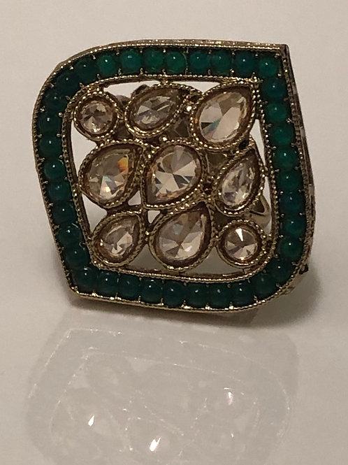 EMERALD GREEN Statement Kundan Styled Ring (Adjustable)