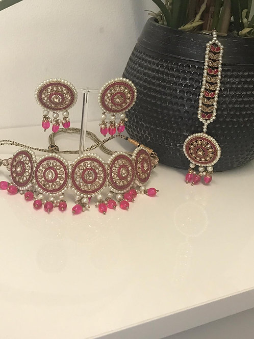 AMRITA Hot Pink Choker Necklace Set