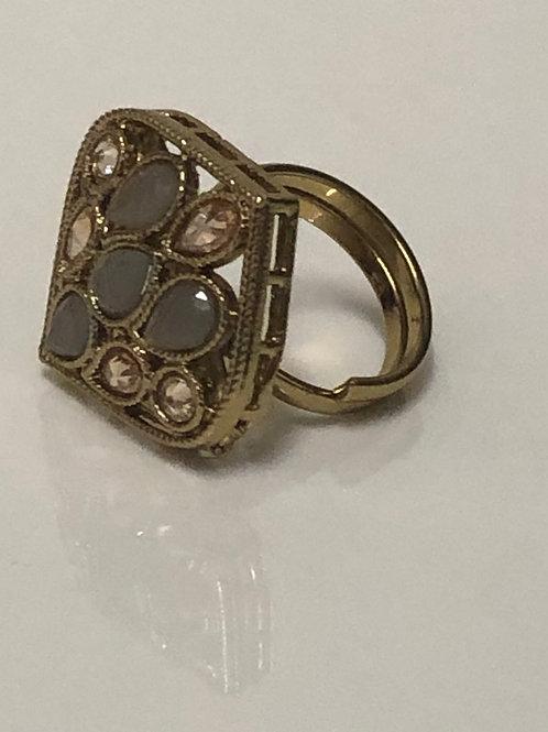 Grey Statement Kundan Styled Ring (Adjustable)