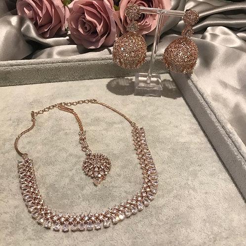 TANISHQ Rose Gold Jhumki & Necklace Set