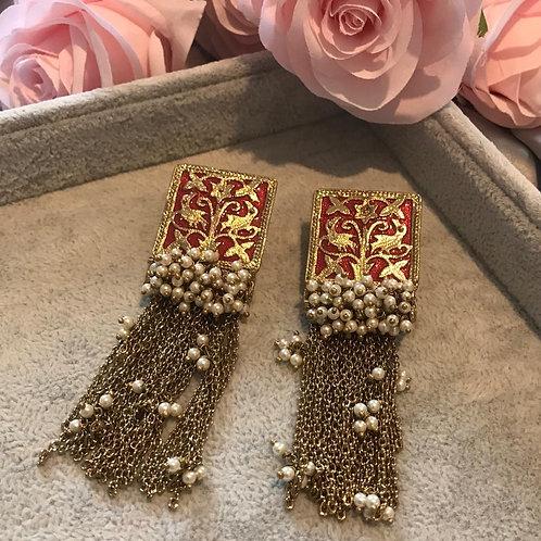 JHANVI Red Polki Earrings