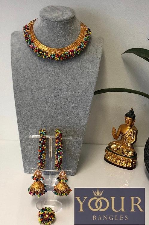 KHUSHI Multi Polki Choker Necklace Set