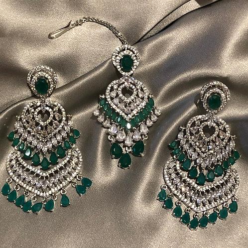 Emerald Green, Clear Stone Earring & Tikka Set (in Cubic Zirconia)