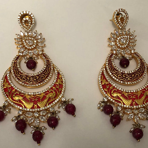 JASMINE Maroon AD Meenakari Earrings