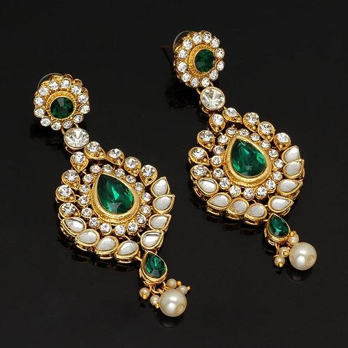 Festive Special Green Color Kundan Earrings For Women