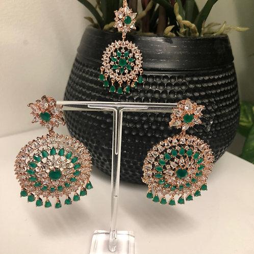 NIA Emerald Green Earring & Tikka Set