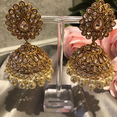 SIMRAN Golden Jhumki Earrings