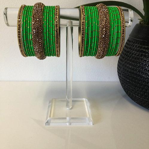 MISHKA Bangle Set - Lime Green
