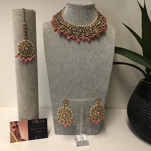 KAVYA Pink Choker Necklace Set