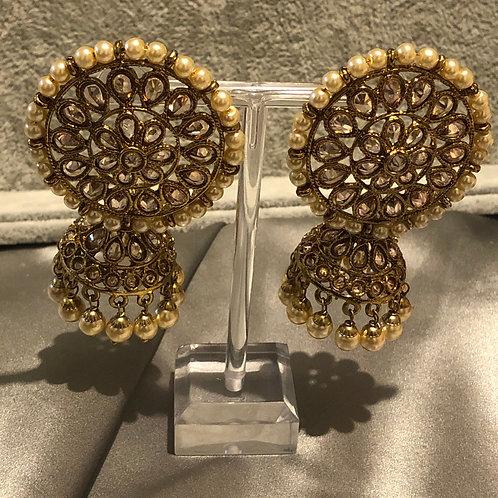 SIMRAN Golden Polki Earrings