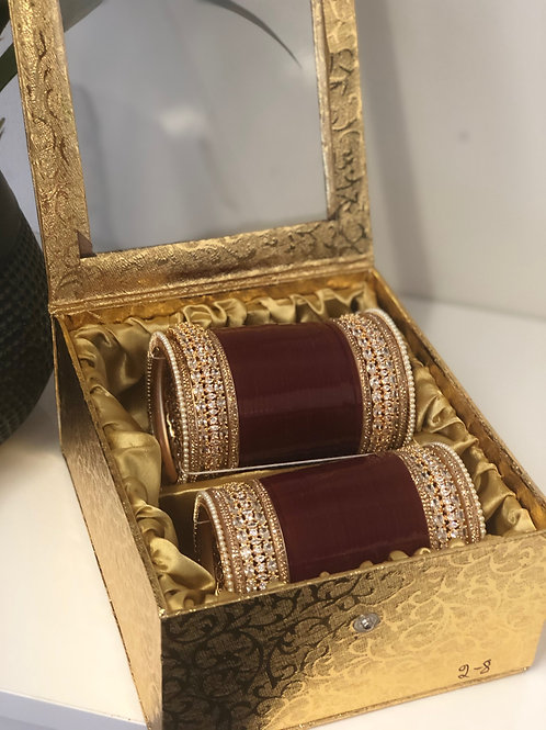 "AD CHOORA - ROSE GOLD ""TANISHQ"" BRIDAL CHOORA BANGLE SET - Maroon"