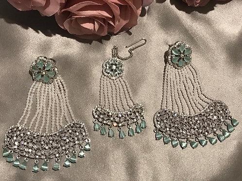 Sea Green Cubic Zirconia Earring & Tikka Set (with Polki)