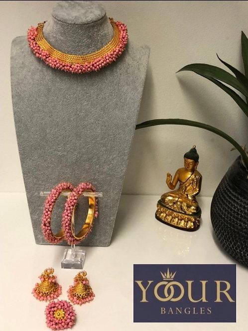 KHUSHI Baby Pink Polki Choker Necklace Set